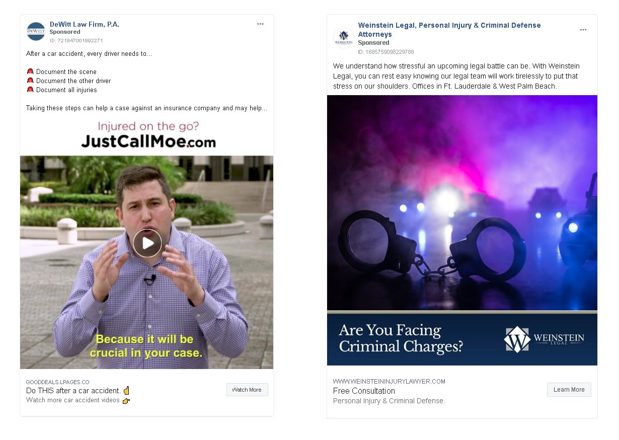 example of a law firm facebook ad