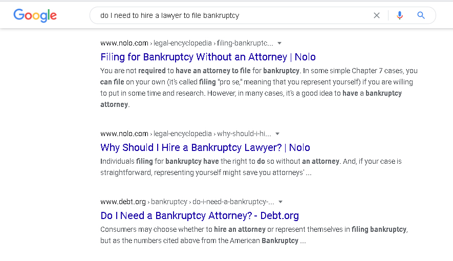 organic search results for legal queries