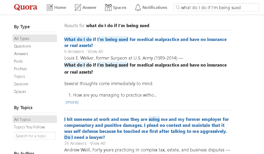 people ask legal questions on quora