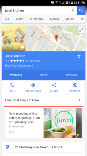 example of a Google My Business Listing post