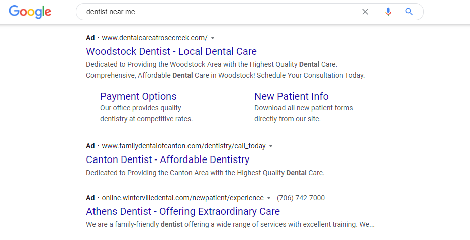 Google Ad for Dentist near me