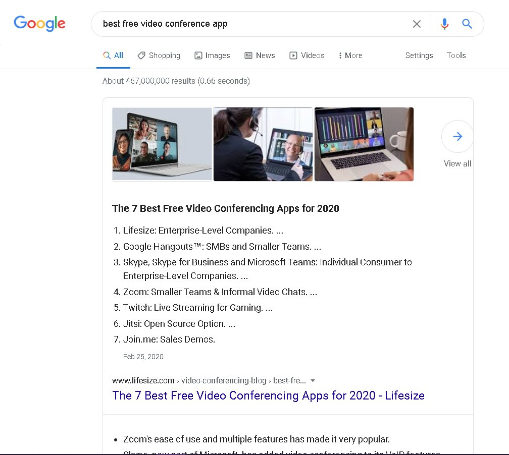 example of a google search result