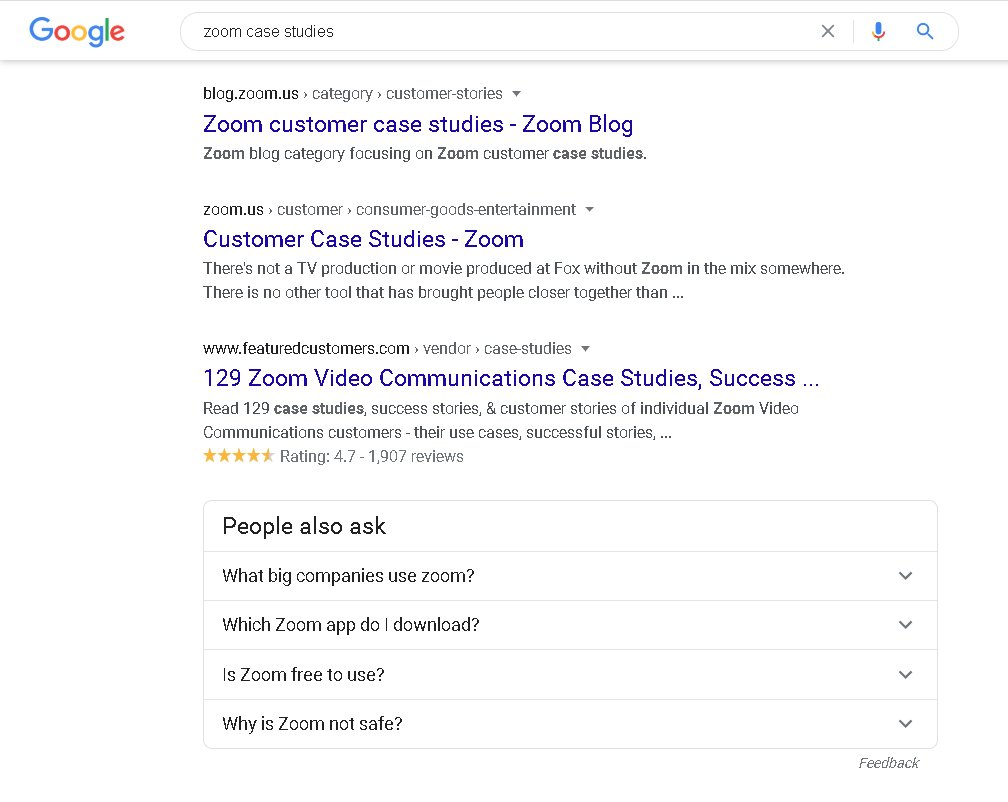 Example of blog articles for specific keywords