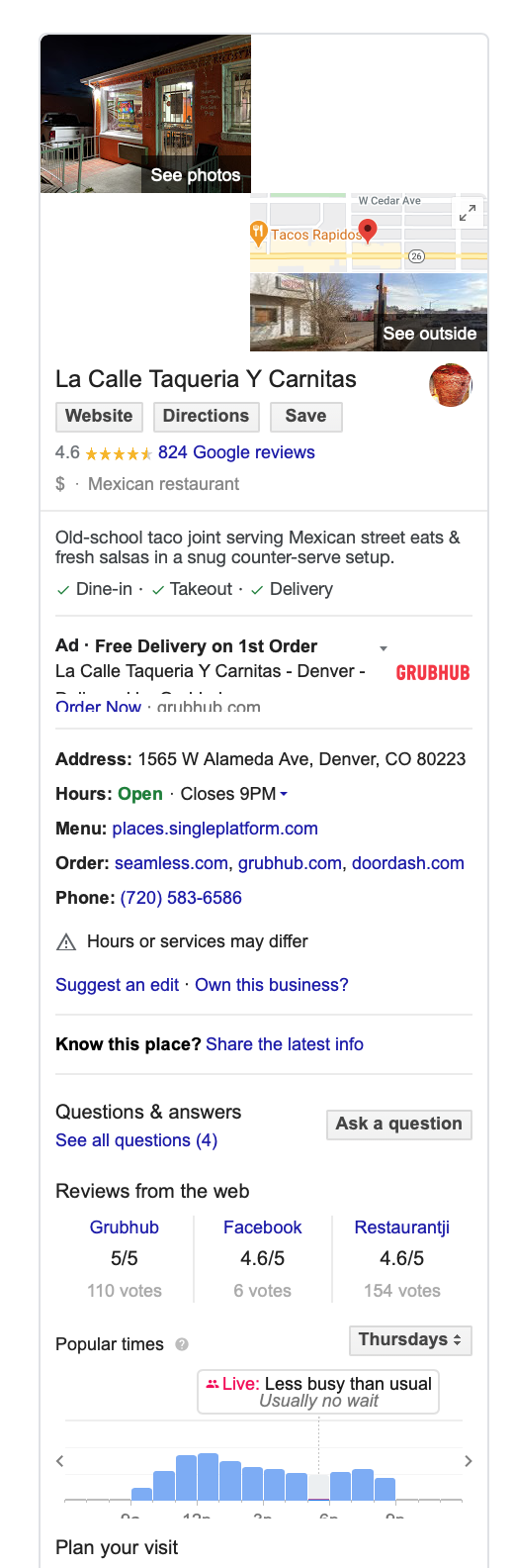 Example of a well-optimized Google My Business listing for local SEO