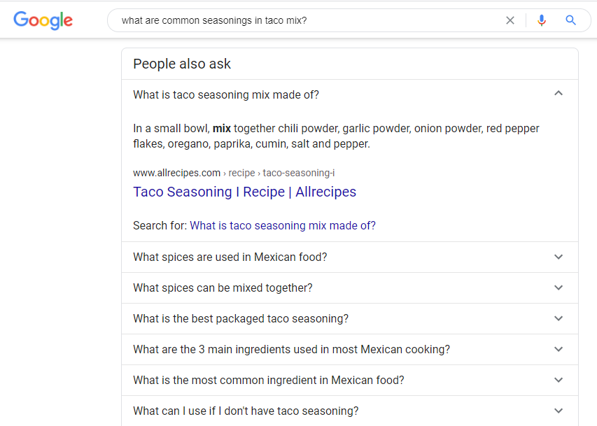 Google Feature Snippet of Taco Seasoning Mix