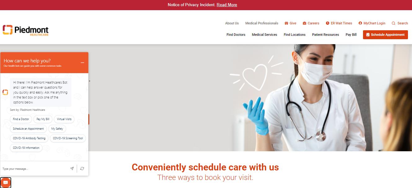 Piedmont Healthcare Chat Bot