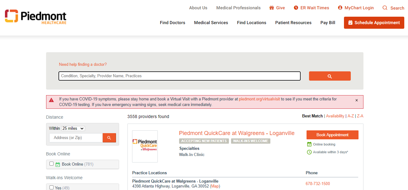 Piedmont Healthcare's appointment scheduling page has good user experience