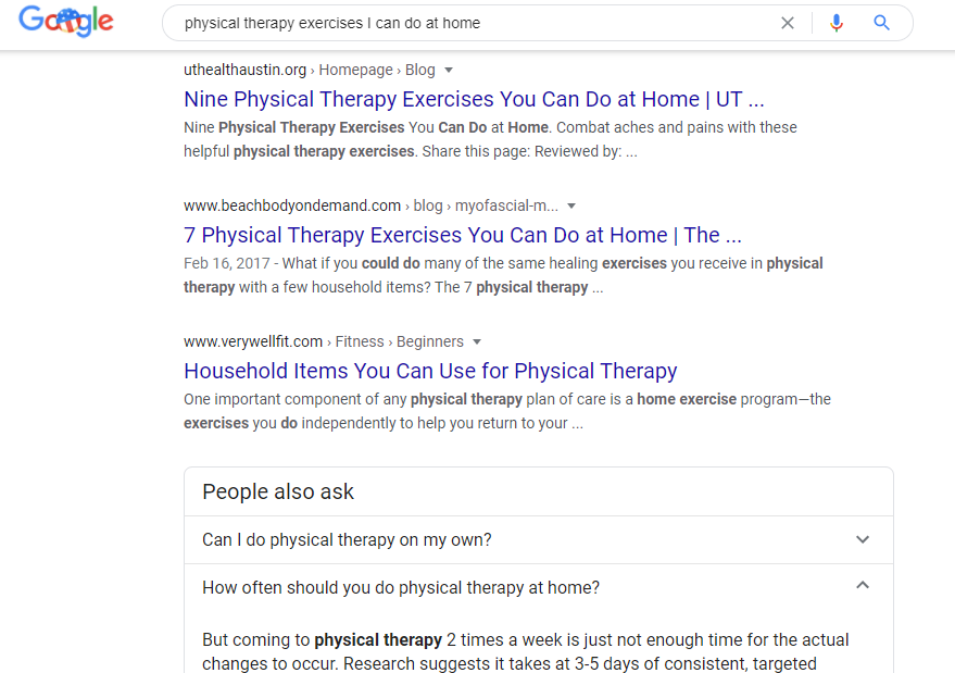 """Screenshot for """"physical therapy exercises I can do at home"""""""