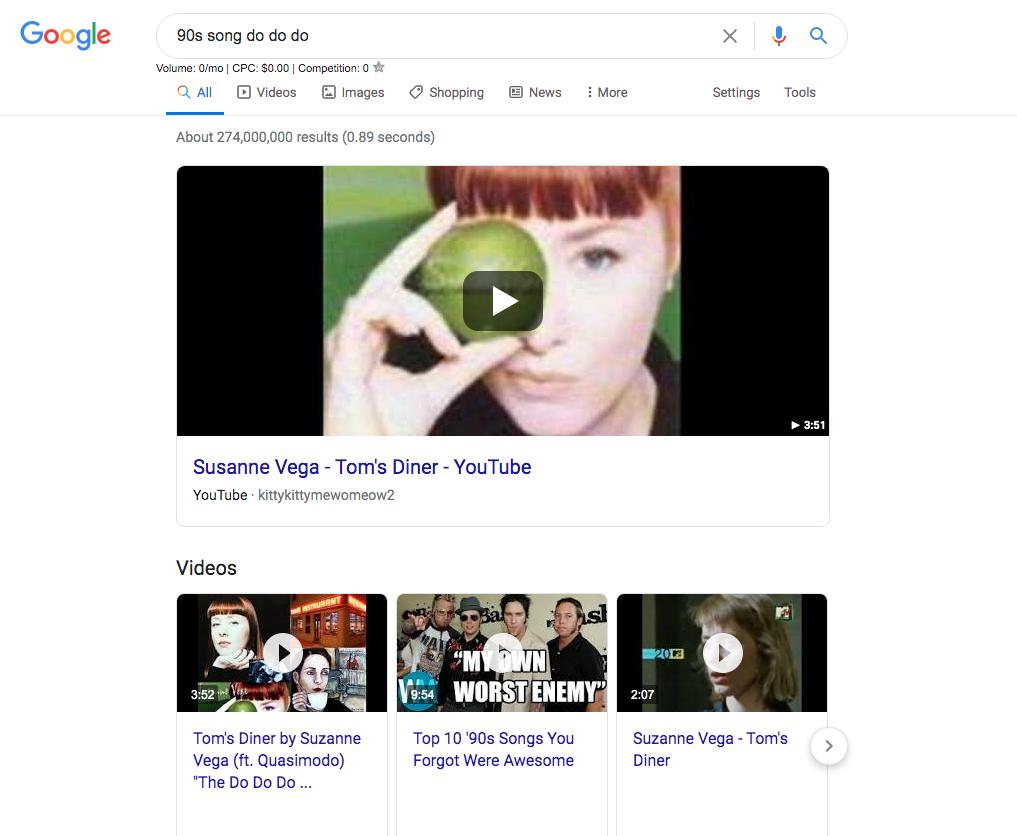 Screenshot of Google search algorithm for Susanne Vega's song