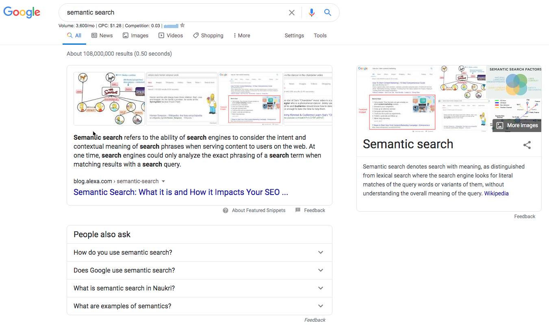 Google Screenshot of semantic search