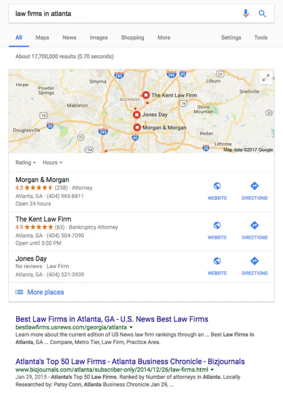 Google search that shows the map pack