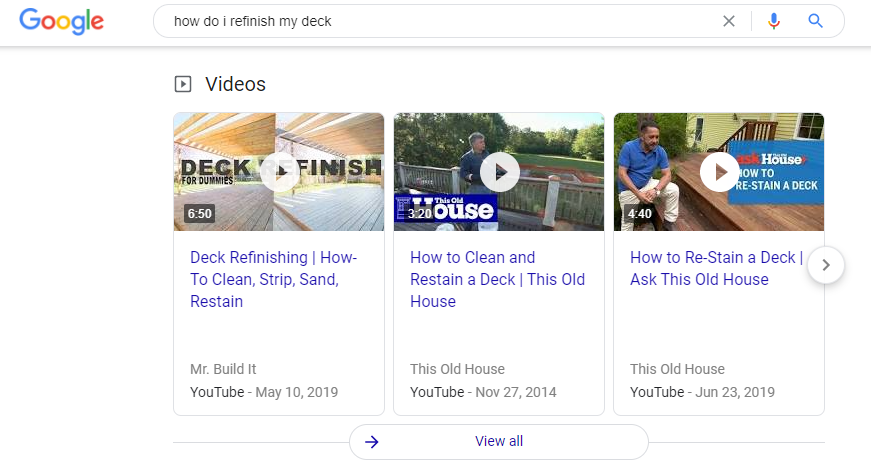 SERP video carousel