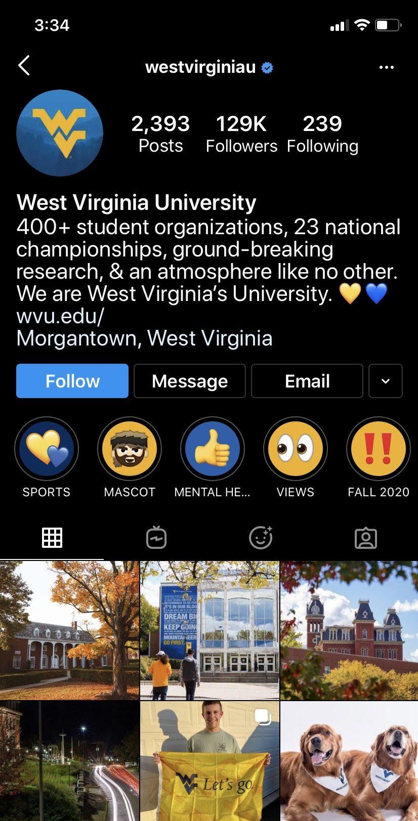 University's Instagram Page