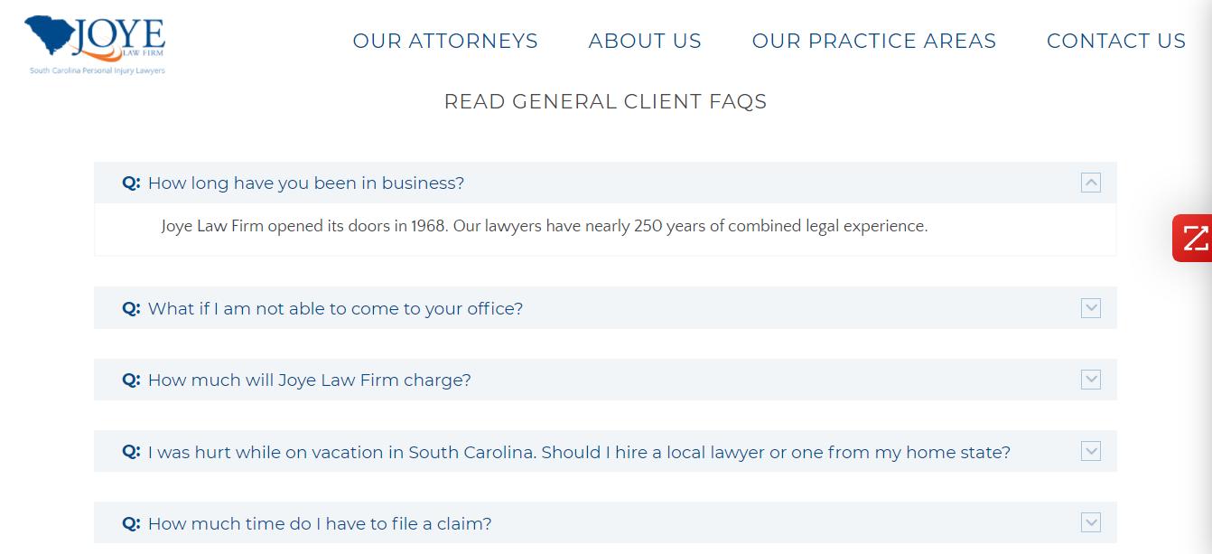 Law Firm FAQ Page