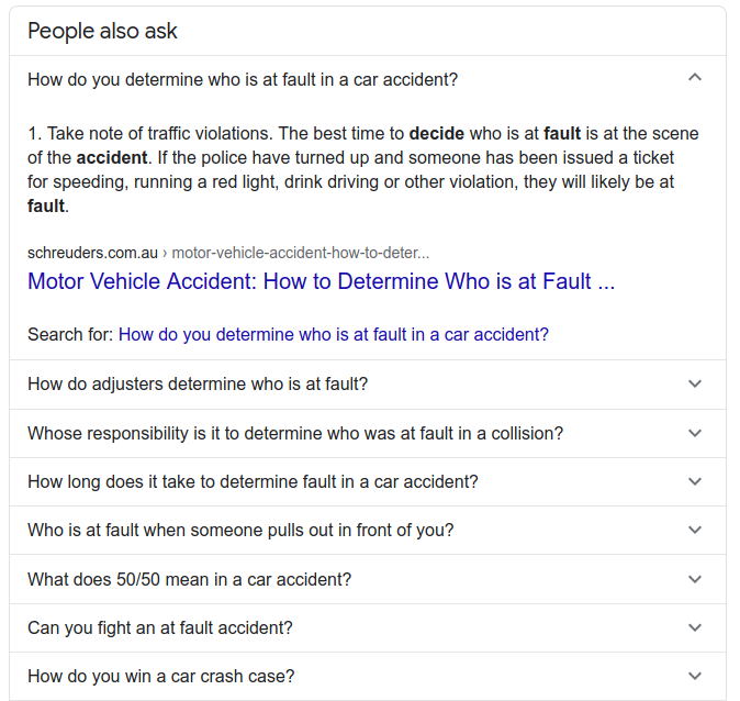 """""""people also ask"""" Google result from Law FAQ page"""