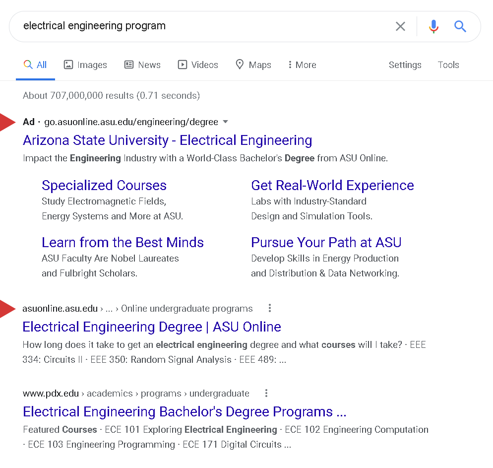 higher ed ad and organic listing on SERP