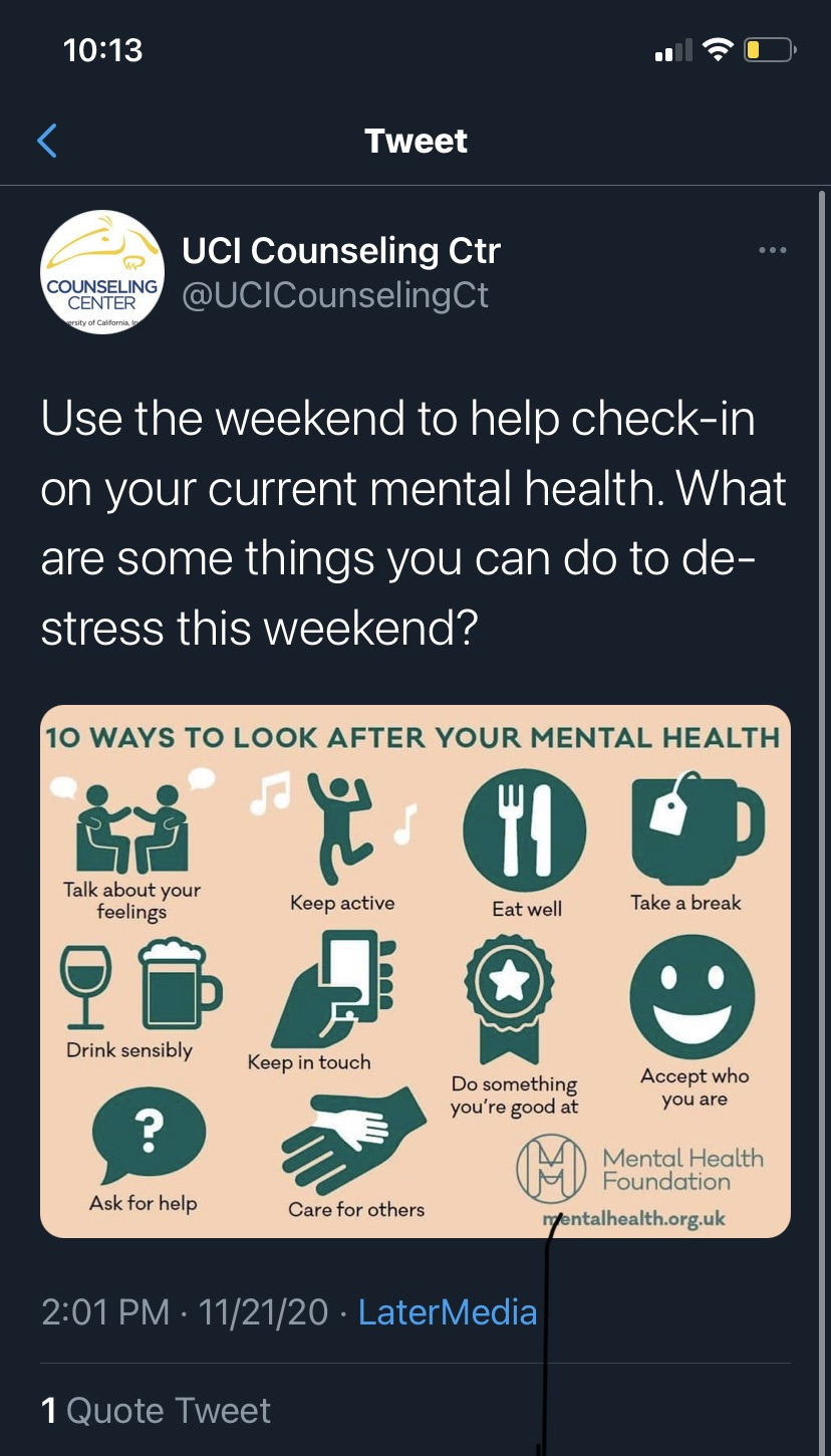 University using social media to remind students to destress