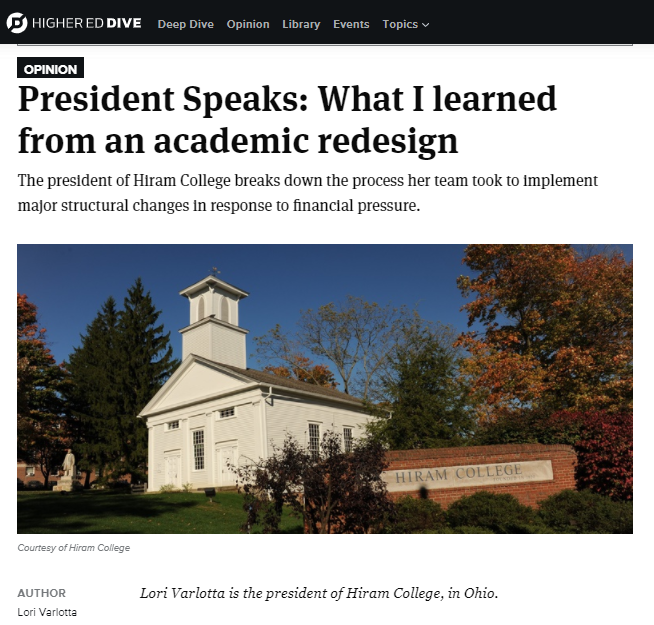 Blog article from college thought leader