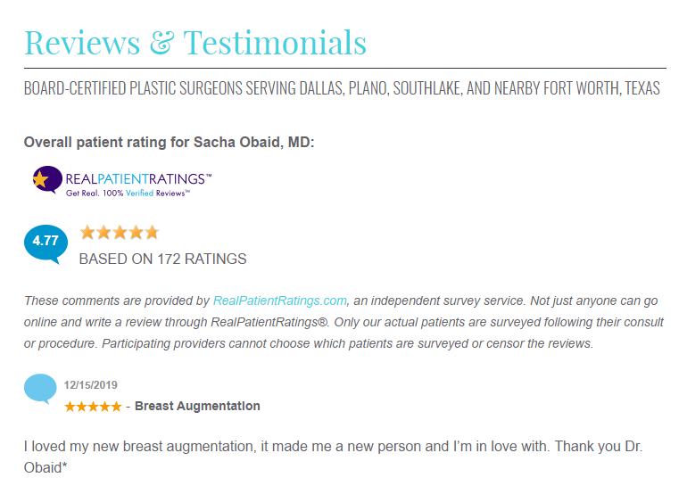 Reviews and testimonials on plastic surgery website