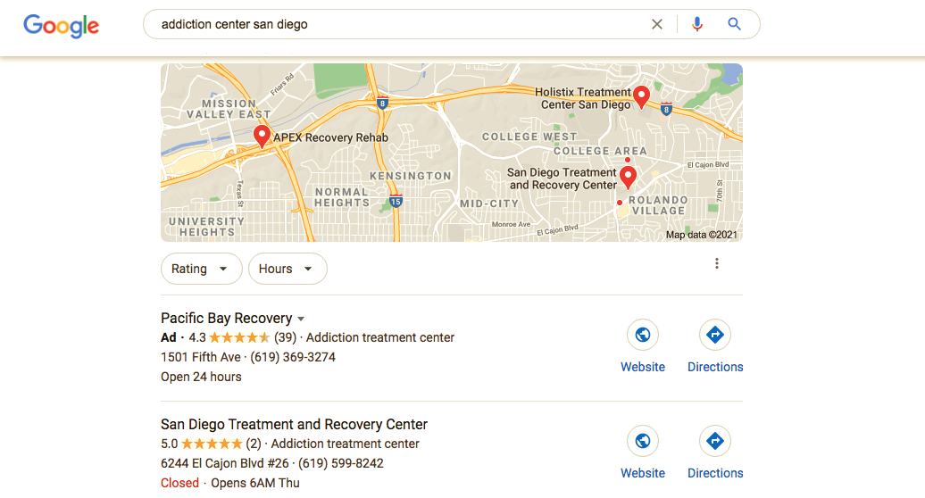 google search for addiction treatment