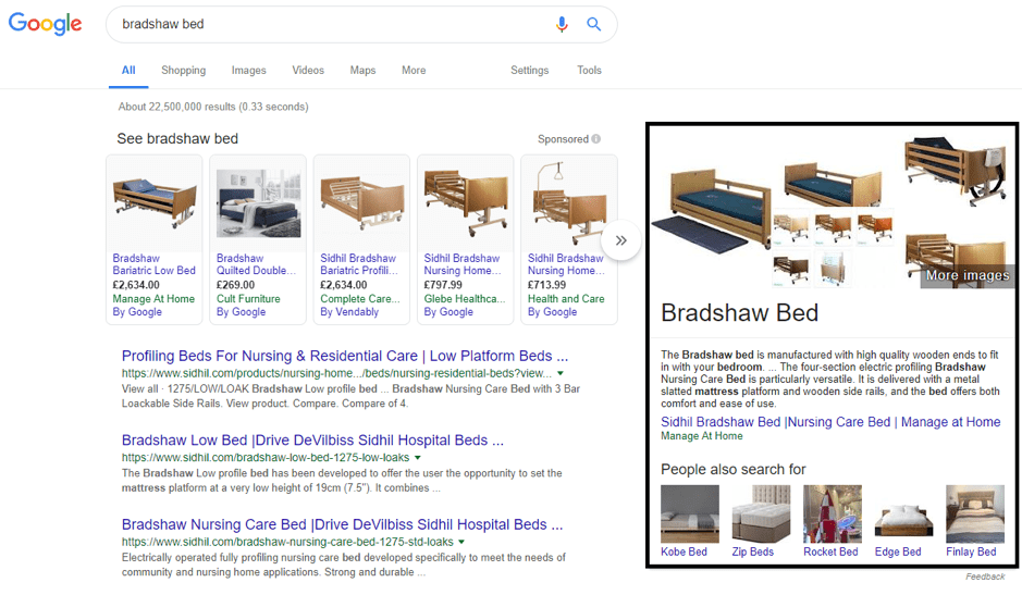 featured snippet in the form of a shopping snippet