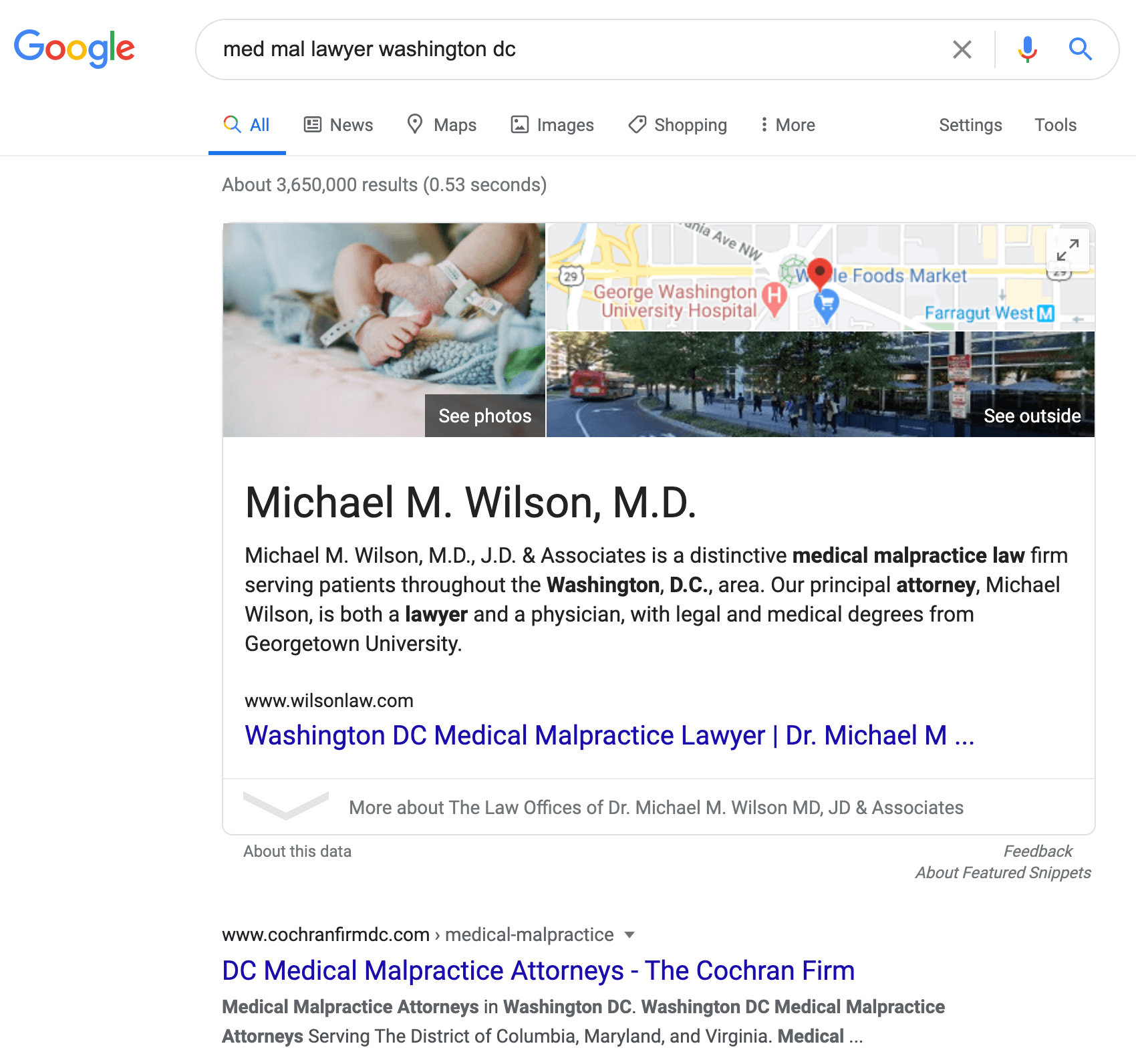map pack featured snippet