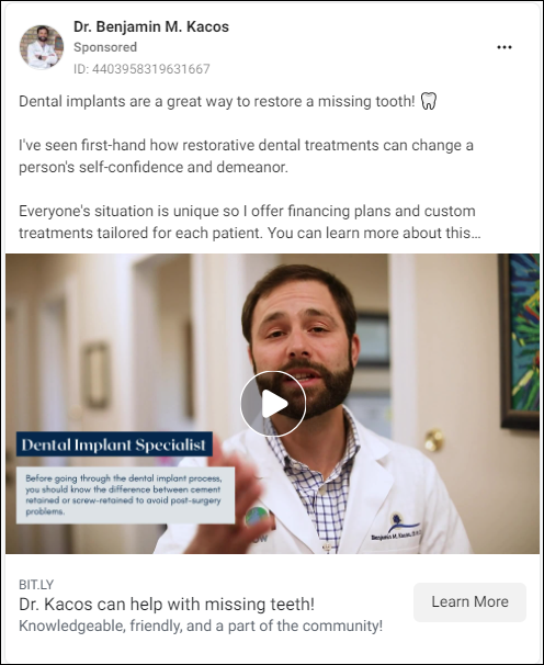 Dentist Video Facebook Ad