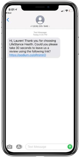 Review Solicitation through SMS