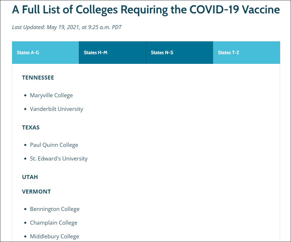 Colleges requiring COVID-19 Vaccine