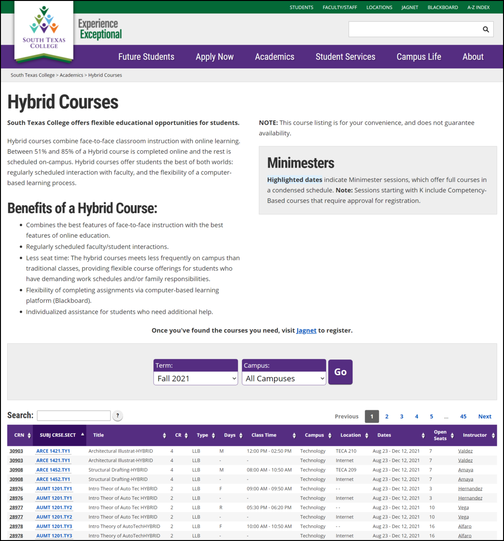 Hybrid Couse Catalog