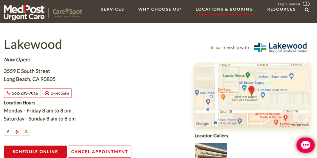 CareSpot Optimized Location Page