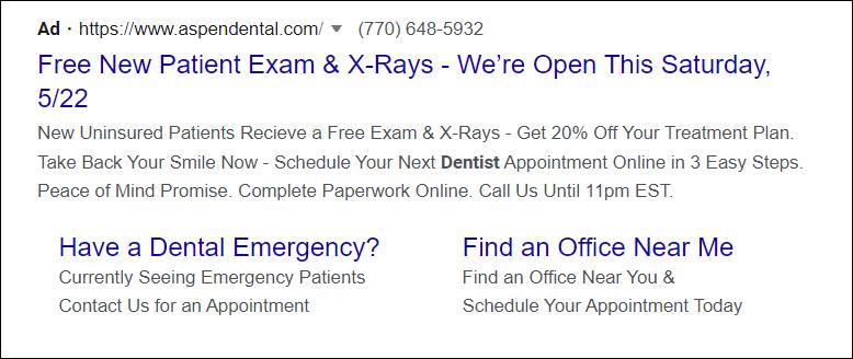 Dental PPC Ad