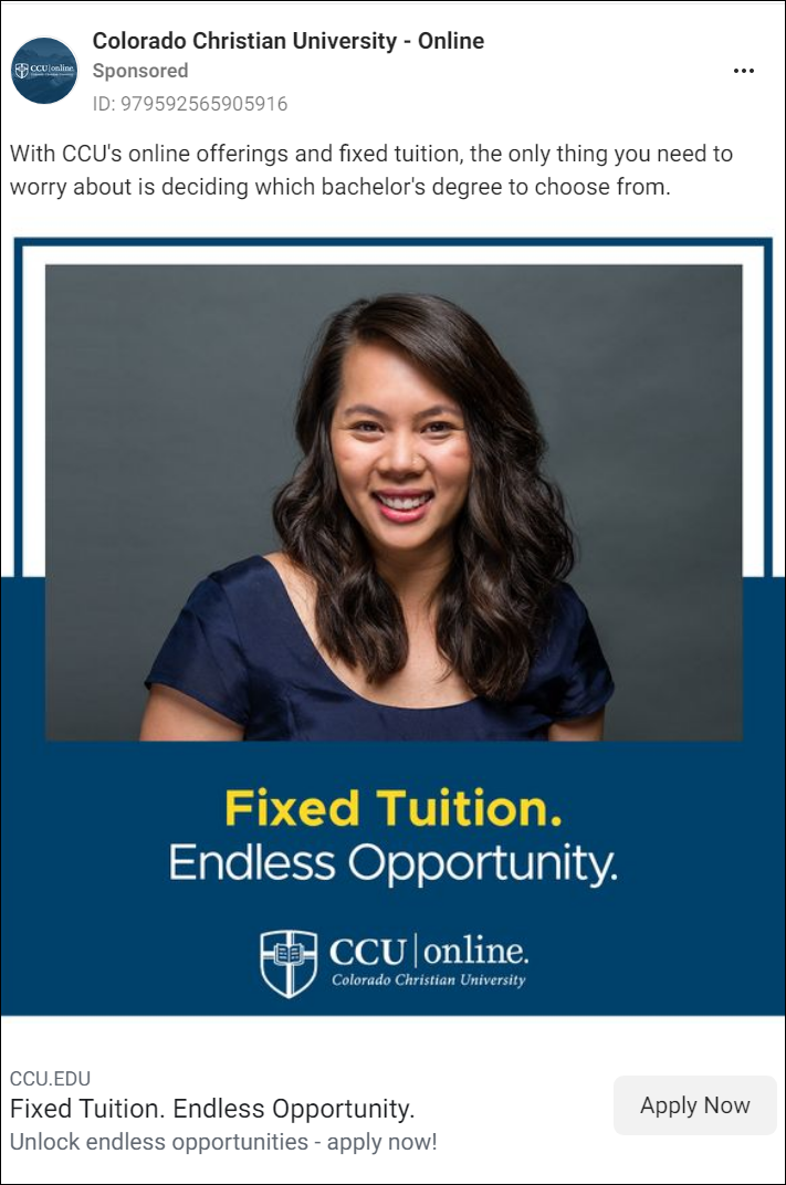 CCU Facebook Ad Campaign