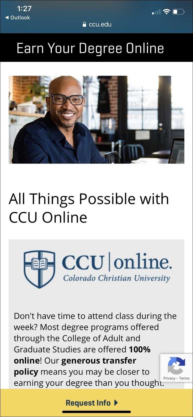 CCU Mobile Landing Page from Facebook Campaign