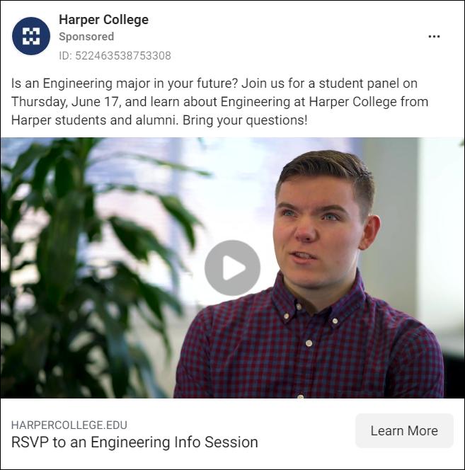 Harper College Facebook Ad