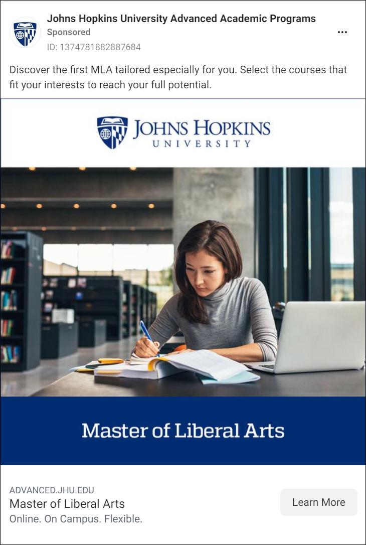 John Hopkins Facebook Ad