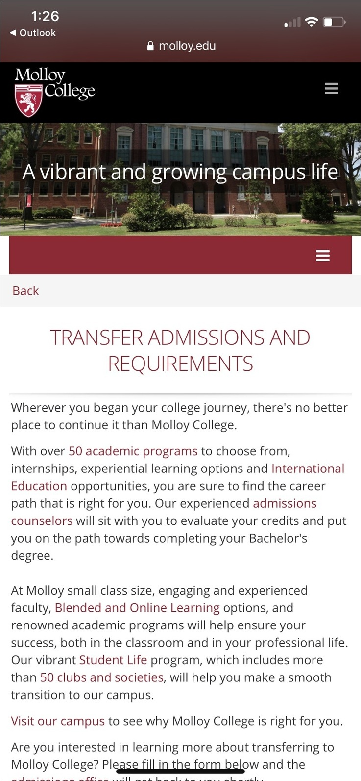 Molloy College Mobile Landing Page