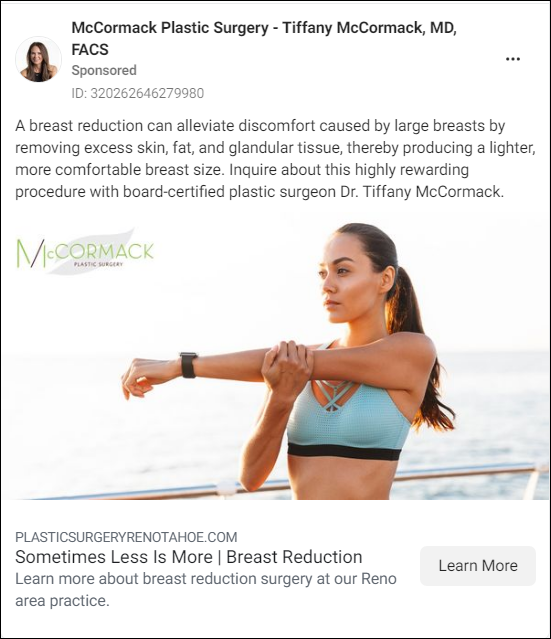 Plastic Surgery Facebook Ad compelling messaging