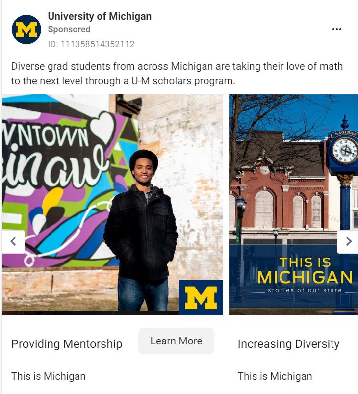 University of Michigan Facebook Ad