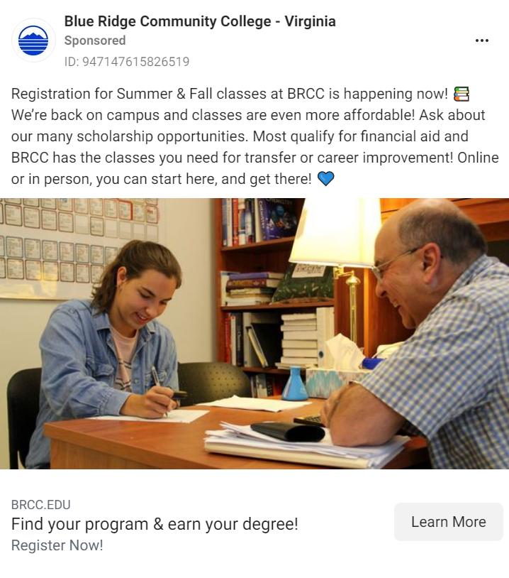Blue Ridge Community College Facebook Ad