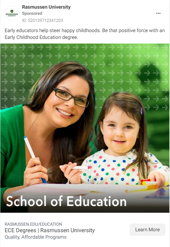 Rasmussen University Facebook Ad