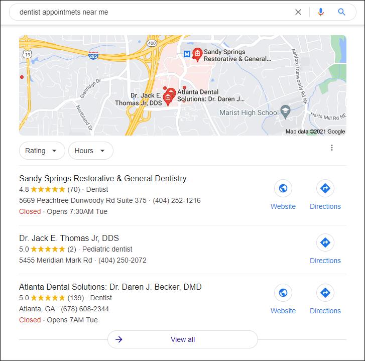 Dentist near me Google Search