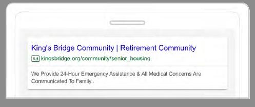Retirement Community Google AdWords Campaign