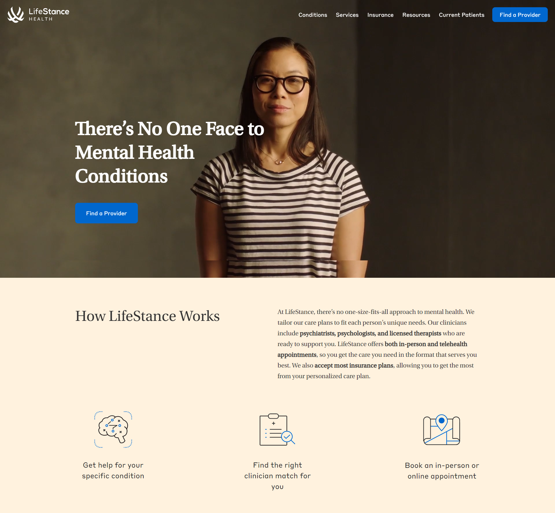 Lifestance Health optimized home page