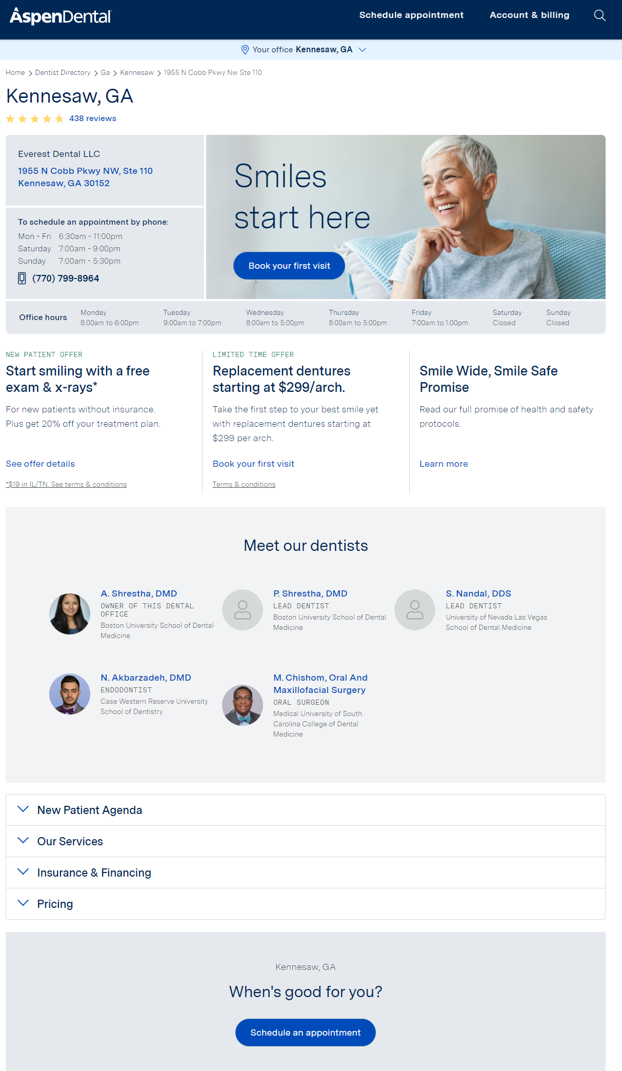 Location Pages for multi-location dental organizations